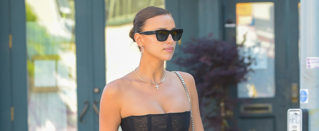 Irina Shayk Wearing Corset Top and Low-Rise Jeans in NYC