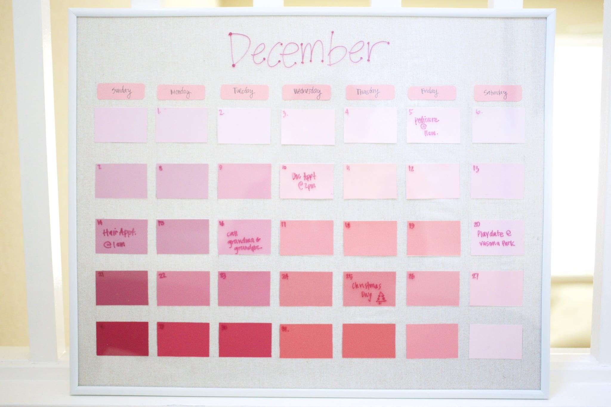 Diy Learning Calendar : Diy reusable paint chip calendar popsugar smart living