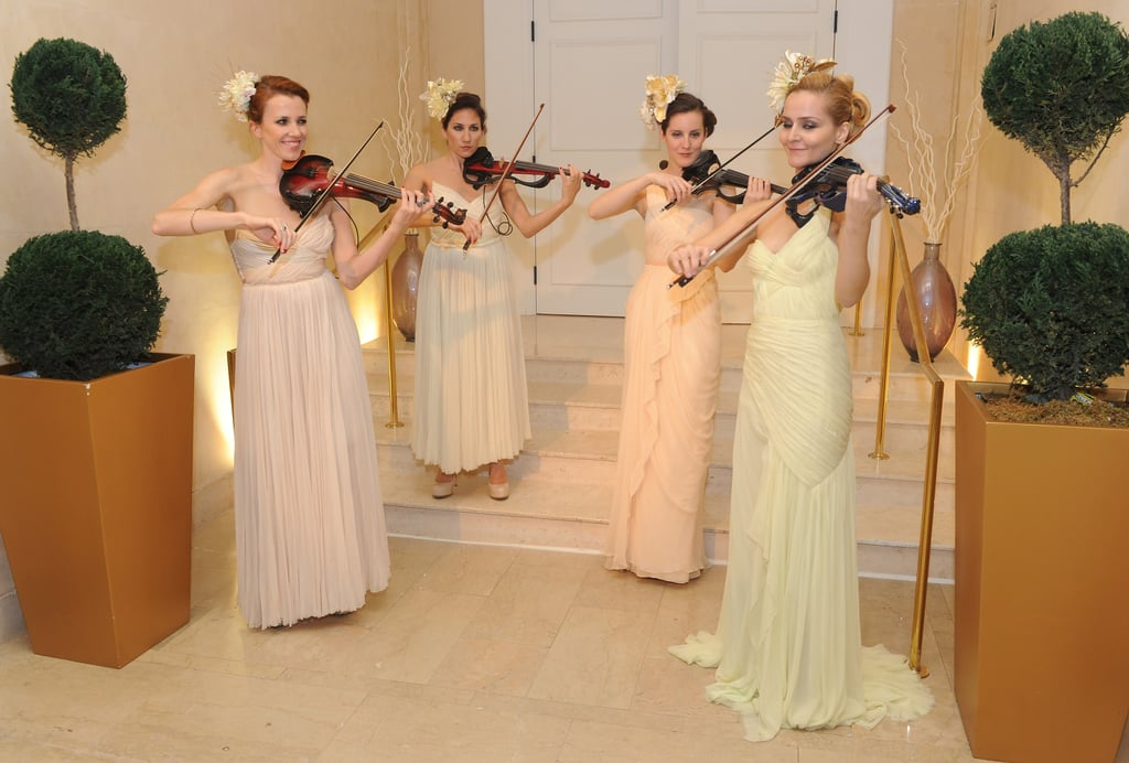 What better way to be greeted than with four beautiful violinists?