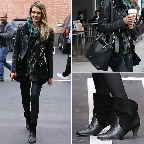 Jessica Alba Wearing a Leather Jacket | Dec. 14, 2012