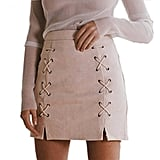 High-Waist Lace-Up Skirt