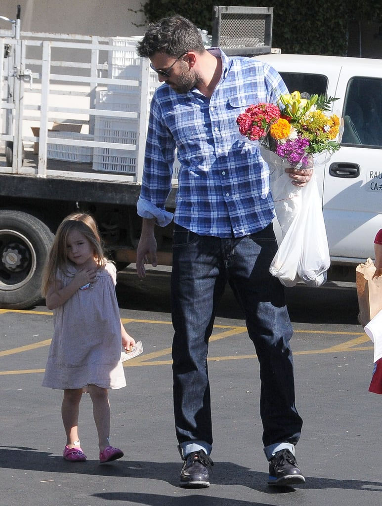 Ben Affleck Takes Seraphina and Violet to the Farmers Market
