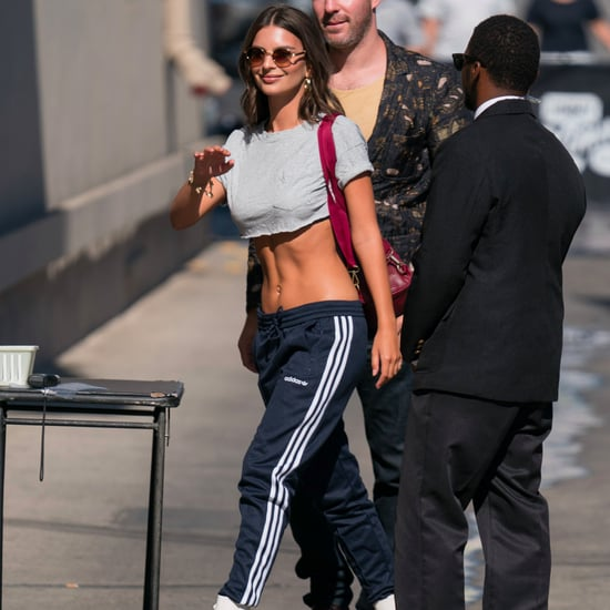 Emily Ratajkowski White Boots With Track Pants