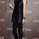Rila Fukushima opted for slim separates at the Tokyo opening event for Louis Vuitton's Timeless Muses.