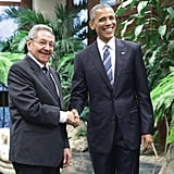 President Barack Obama met with Cuban President Raul Castro at the Revolution Palace on March 21.