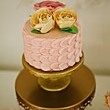 Paper flowers adorned the cake.