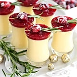 Eggnog Panna Cotta With Spiked Cranberry Sauce