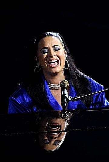 Demi Lovato Purple Suit at Billboard Music Awards 2020