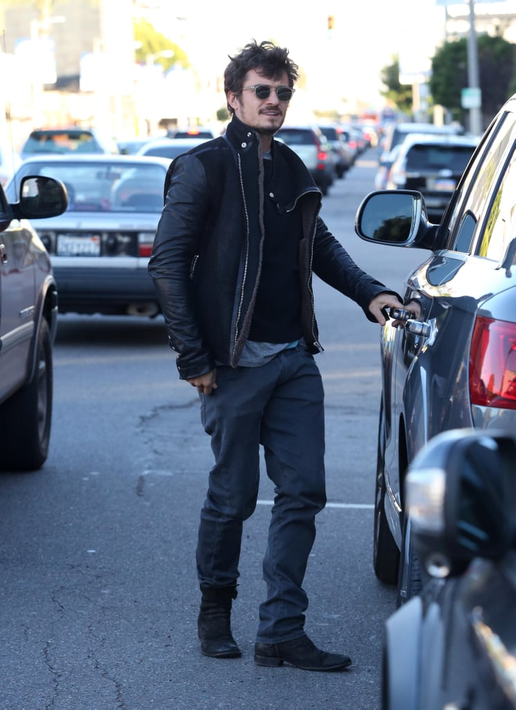 Orlando Bloom wore black sunglasses.