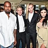 Kanye West, Ellen DeGeneres, Portia de Rossi, and Kim Kardashian