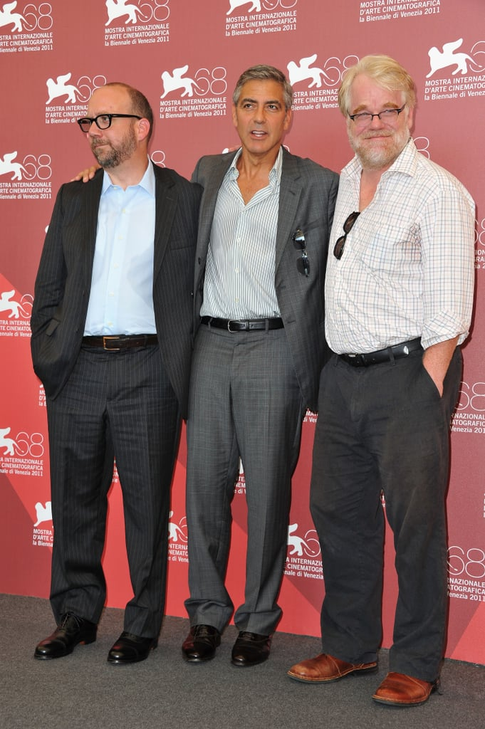 The Ides of March leading men Paul Giamatti, George Clooney, and Phillip Seymour Hoffman.