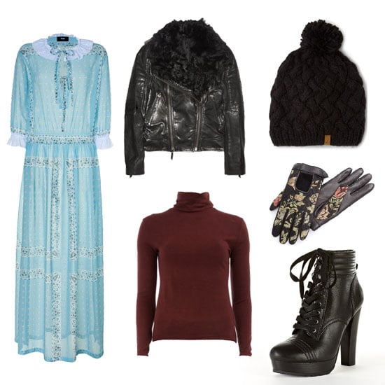 For the ultimate bohemian, layer a fitted turtleneck underneath your pretty maxi dress and complete the look with a shearling-lined moto coat, beanie, and sturdy lace-up boots. Shop the look:  D&G Dolce & Gabbana Azure maxi dress ($654, originally $935) Karl Oslo leather and shearling biker jacket ($665, originally $1,330) Dorothy Perkins burgundy polo neck jumper ($35) Woolrich women's pom-pom beanie ($25) Rag & Bone Black chevron quilted driving gloves ($230) DKNY Valene lace-up ankle boot ($179)