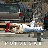 Anna Kournikova and Enrique Iglesias found a nearby park bench in Santa Monica, CA, for some PDA in September 2003.