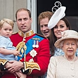 Prince Harry leaned in to chat with Prince William and his nephew, Prince George, during the Trooping the Colour festivities in June 2015.