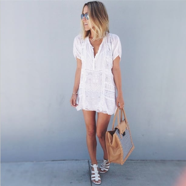 We love an off-duty look that doesn't require jeans. Instead, slip into a breezy day dress, and finish with walkable sandals. Source: Instagram user damselindior