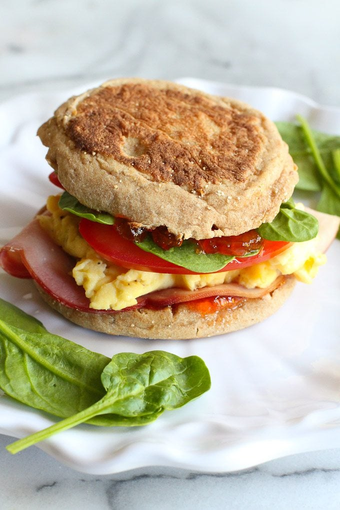 Egg Breakfast Sandwich With Pepper Jelly and Spinach
