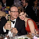 Kate Mara cozied up to her former House of Cards costar Kevin Spacey after his big win.