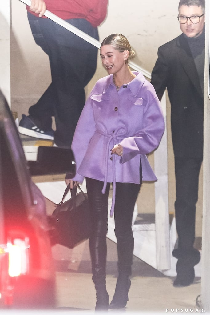 Hailey Baldwin in Lavender Coat With Justin Bieber