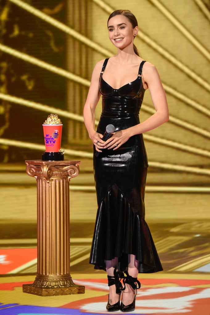 Lily Collins Black Latex Dress at the MTV Movie Awards 2020