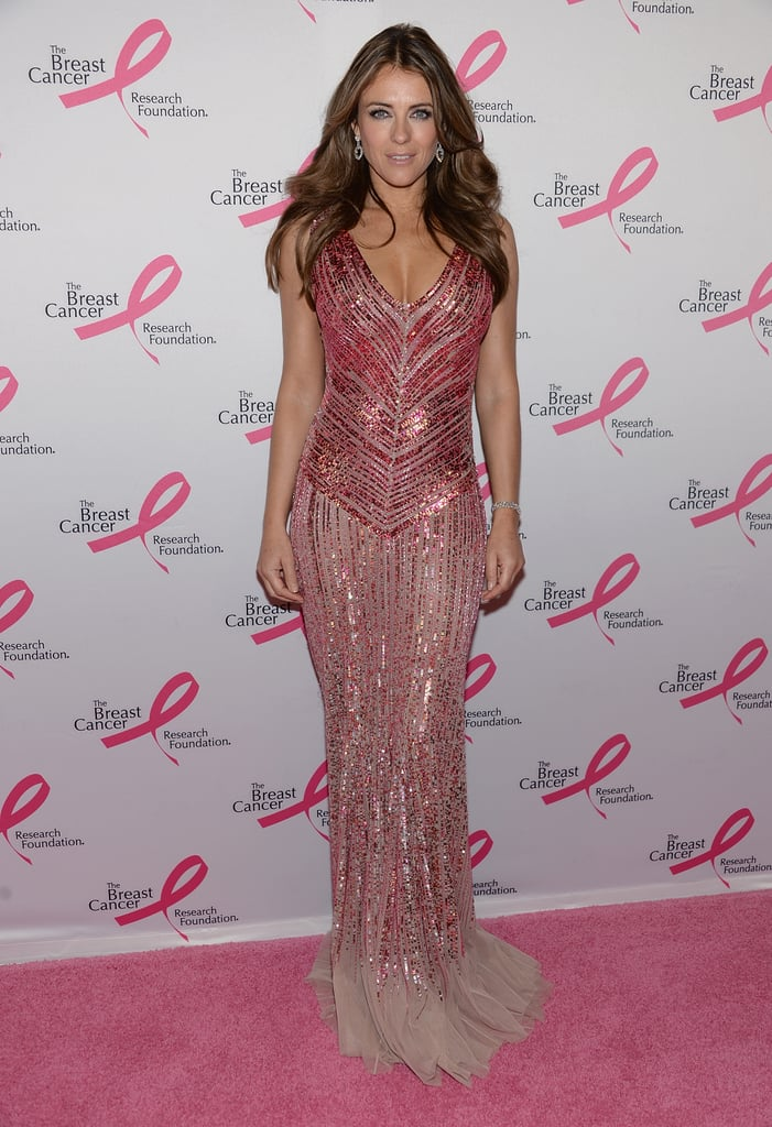 Elizabeth Hurley dressed for The Breast Cancer Research Foundation's annual Hot Pink Party in an appropriately hued, shimmering Blumarine gown.