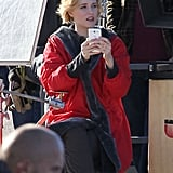 Pregnant Evan Rachel Wood was on set in Malibu.