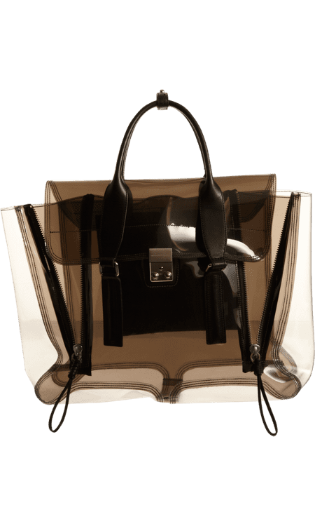 The usually sophisticated Pashli bag gets a jolt of athletic cool when done in a transparent plastic. 3.1 Phillip Lim Clear Pashli Satchel ($650)