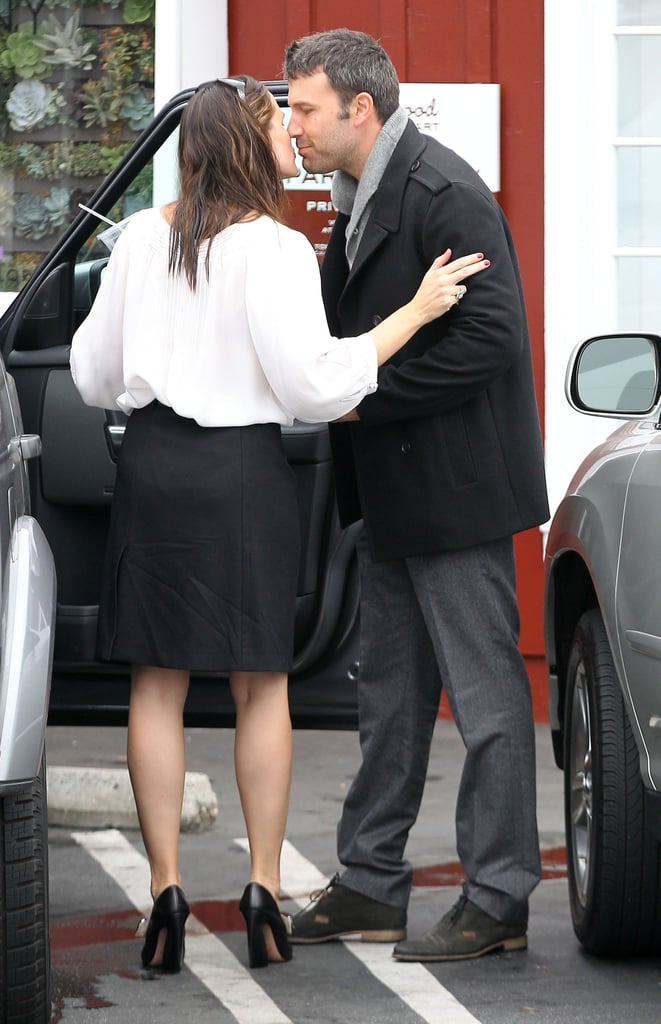 Ben Affleck leaned in to kiss Jennifer Garner this morning outside Brentwood Country Mart. The couple were spotted leaving breakfast with their daughter Seraphina at their side. Ben and Jennifer are back to daily life in their SoCal neighborhood after returning from Canada, where they attended the Toronto International Film Festival premiere of Argo last week. The couple celebrated with friends Matt and Luciana Damon, as well as Emily Blunt and John Krasinski, after the drama's well-received debut. Argo tells the story of the 1979 Iran hostage crisis and marks Ben's third directorial project. Meanwhile, Jennifer's next film also takes on politics, albeit in a comical way. Her satire Butter is due in theaters in early October. The movie features Jennifer as an ambitious butter carver who tries to translate that success into a career in government.