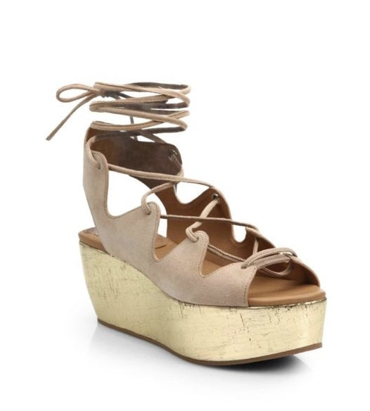 See by Chloé Lace-Up Metallic Leather and Suede Platform Sandals ($305)
