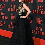 At the Red Sparrow premiere in February 2018, JLaw wore an incredible Dior dress with equally as exciting Roger Vivier booties.