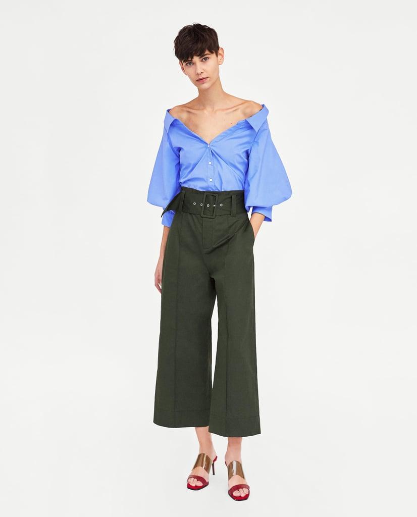0488572f5c4 Zara Poplin Jumpsuit Dress Blue