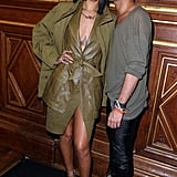 The third type of Rihanna we spotted in Paris? Supersexy, as proved by the low-cut, high-rising leather dress she wore to the Balmain show.