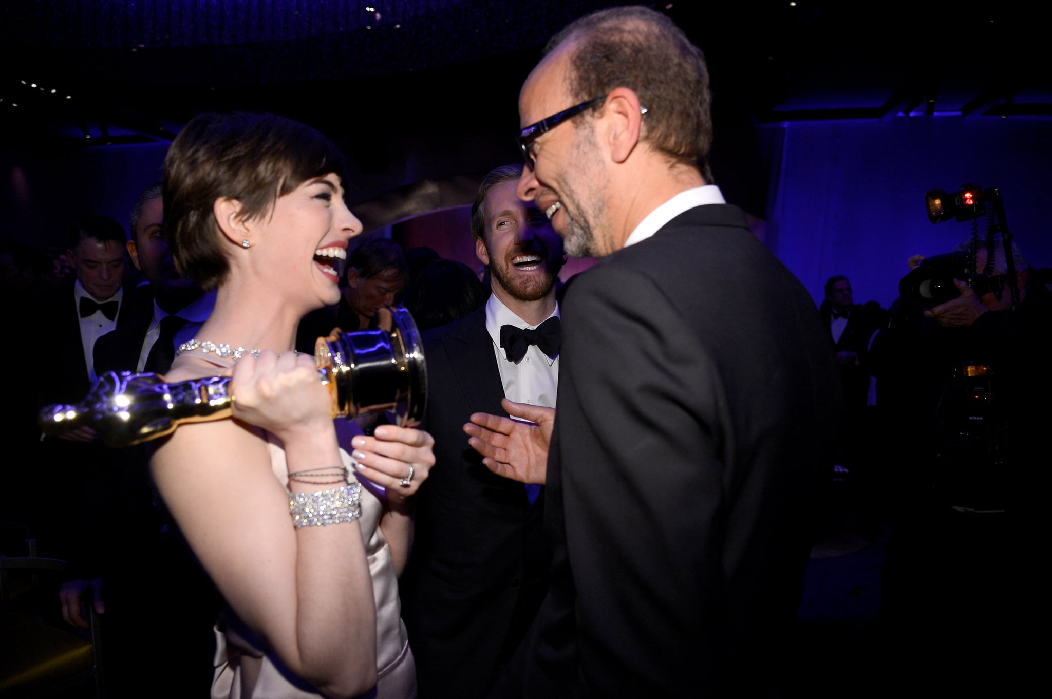 Anne Hathaway had a laugh at the Governors Ball.