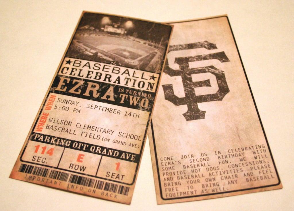 Custom Vintage Baseball Ticket Invitations