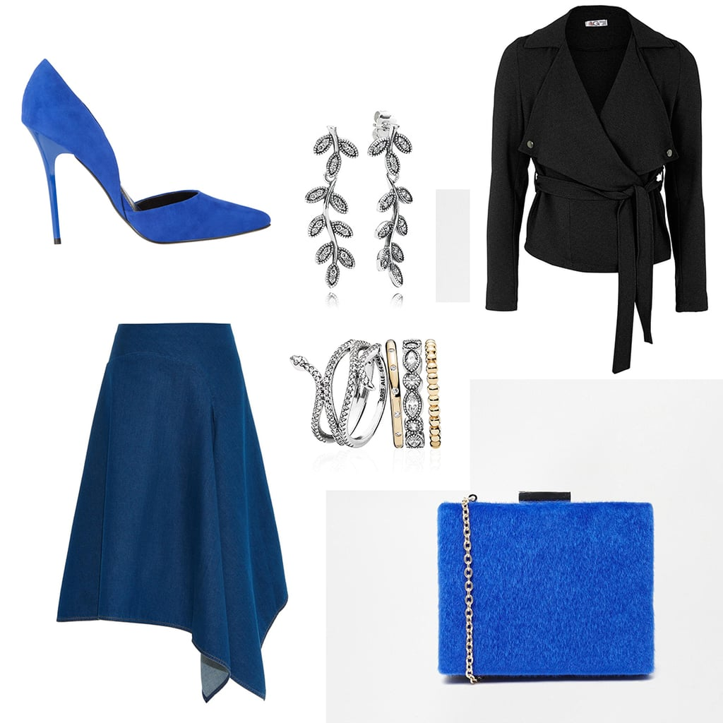 Skirt, $577, Stella McCartney at Matches Fashion; heels, $41, AA; jacket, $68, Topshop; bag, $55, Asos; Sterling Silver and Cubic Zirconia Sparkling Leaves Hanging Earrings, $119, PANDORA; Sterling Silver and Cubic Zirconia Sparkling Snake Ring (Concept Store Only), $99, PANDORA;14ct Gold Rings, $349 Each, PANDORA;Sterling Silver and Cubic Zirconia Alluring Brilliant and Marquise Cut Ring, $89, PANDORA