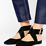 New Look Wide Fit Suedette Ankle Tie Pointed Shoe