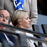 Princess Charlene of Monaco snapped a picture seated next to her husband Prince Albert II of Monaco.