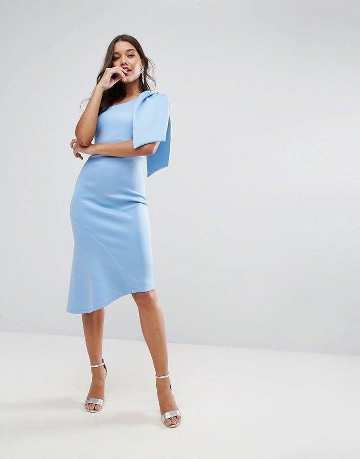 44275a17240a Asos Scuba One-Shoulder Big Bow Peplum Midi Dress