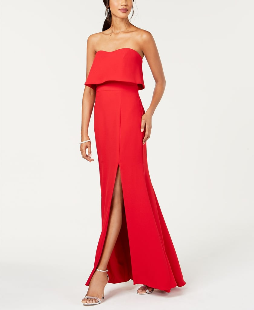 1ad1823948e Xscape Strapless Popover Evening Gown | Kylie Jenner Red Dress For ...