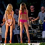Candice was joined on set by a fellow VS model.