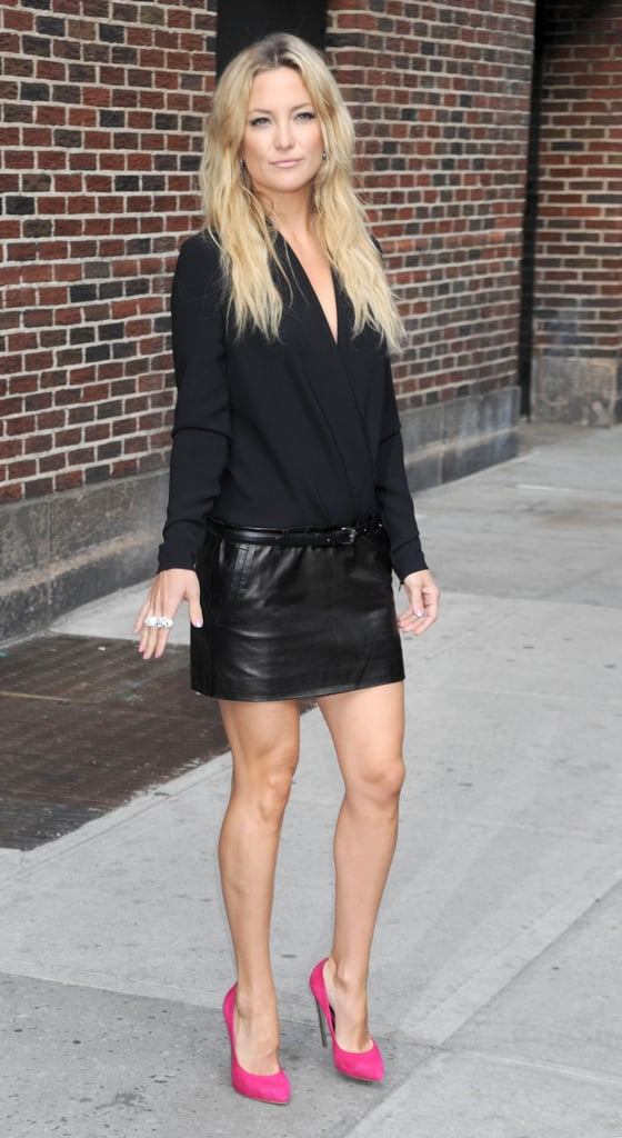Kate Hudson turned heads outside the Late Show in a leather Barbara Bui mini and hot-pink heels.