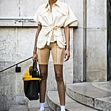 For lovers of bike shorts, consider trying them in non-black tones this Fall, styled with similarly-hued colors.