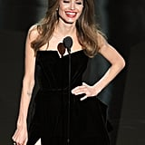 Angelina Jolie prsented an award onstage at the 2012 Oscars.