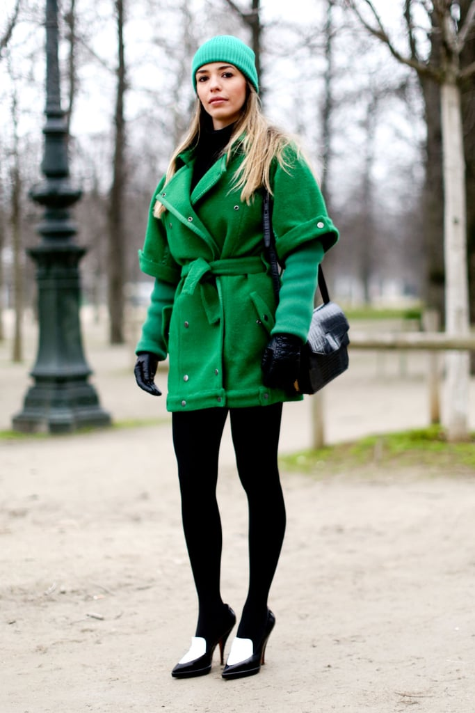 This showgoer added interest with rich shades of emerald green.
