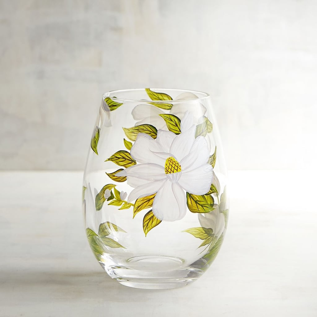 Pier 1 Imports Magnolia Painted Stemless Wine Glass