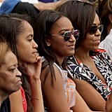 When Michelle and her girls sported identical game-day faces.