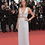 Alessandra Ambrosio wore a custom, crystal-embroidered gown from Michael Kors Collection to the premiere of The Unknown Girl.