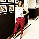 Ciara wore a pair of slouchy red leather pants for an appearance on Access Hollywood. Source: Instagram user ciara