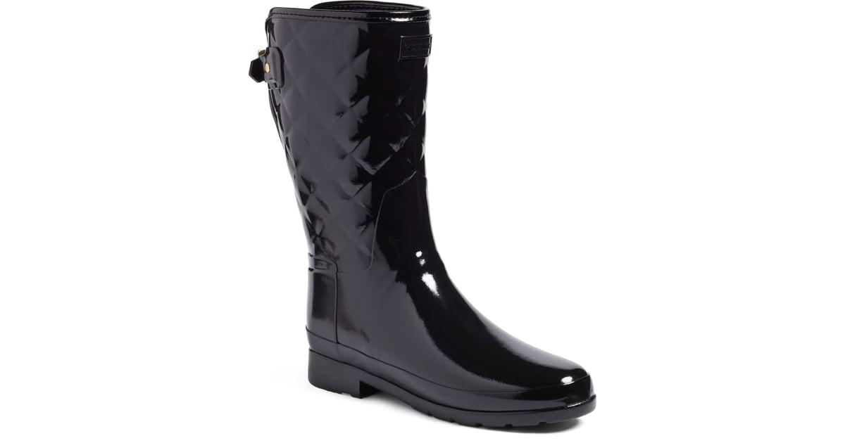 819e3aebd376 Hunter Refined High Gloss Quilted Short Waterproof Rain Boot