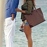 Jay Z and Beyoncé shared a kiss overlooking the Mediterranean Sea in June 2005.