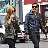 Kate Moss and Jamie Hince laughed together in London.